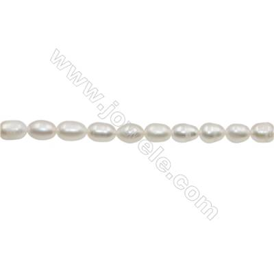 "Natural Fresh Water Pearl  White  Size 6~7mm  Hole 0.7mm  15~16""/strand"