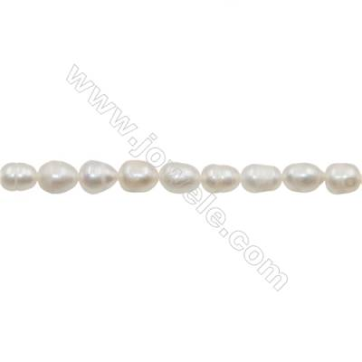 "Natural Fresh Water Pearl  White  Size 7~8mm  Hole 0.7mm  15~16""/strand"