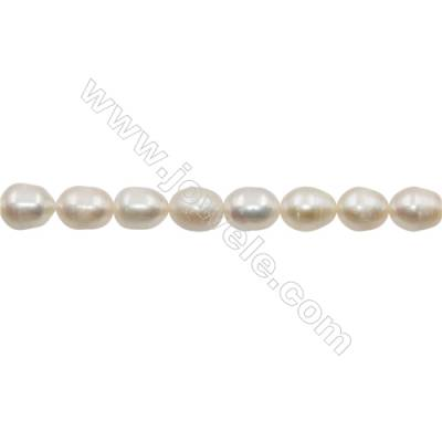 "Natural Fresh Water Pearl  White  Size 9~10mm  Hole 0.7mm  15~16""/strand"