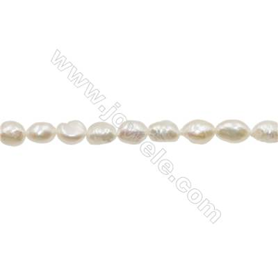 "Natural Fresh Water Pearl  White  Size 8~9mm  Hole 0.7mm  15~16""/strand"