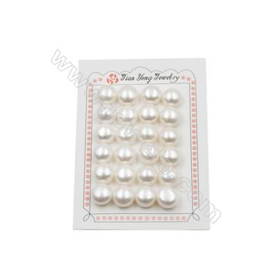 Fresh Water AAA Grade Half-Drilled Pearl Beads  Flat Back  Diameter 14~15mm  Thick 9.5mm  Hole 0.8mm  24pcs/card