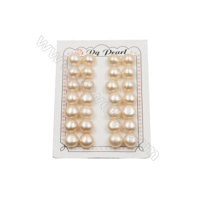 Fresh Water AAA Grade Half-Drilled Pearl Beads  Flat Back  Diameter 13~13.5mm  Thick 9.3mm  Hole 0.8mm  28pcs/card