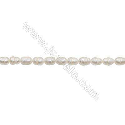"Natural Fresh Water Pearl  White  Size 6~7mm  Hole 0.7mm  13~14""/strand"