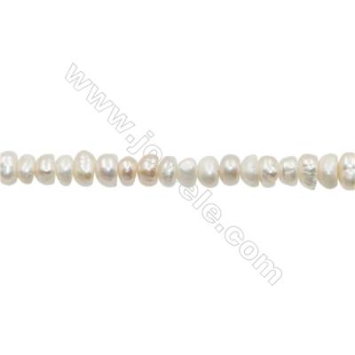 "Natural Fresh Water Pearl  White  Size 5~6mm  Hole 0.4mm  12~13""/strand"