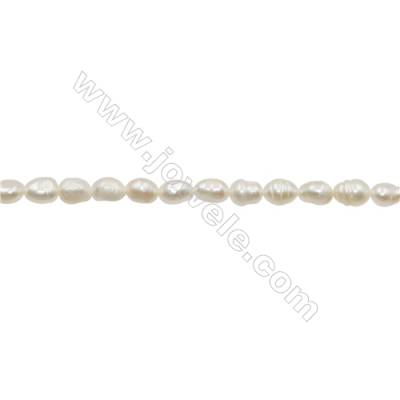 "Natural Fresh Water Pearl  White  Size 4~5mm  Hole 0.4mm  12~13""/strand"