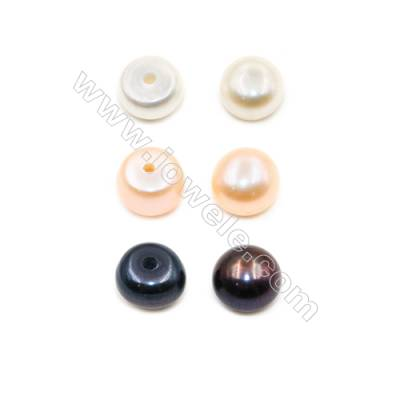 Multicolor Fresh Water AAA Grade Half-Drilled Pearl Beads  Flat Back  Diameter 6~6.5mm  Thick 4mm  Hole 0.8mm  116pcs/card