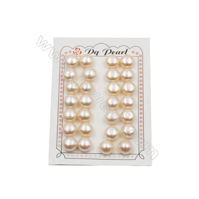 Fresh Water AAA Grade Half-Drilled Pink Pearl Beads  Flat Back  Diameter 12.8~13mm  Thick 8.4mm  Hole 0.8mm  24pcs/card
