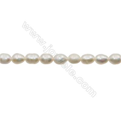 "Natural Fresh Water Pearl, White, Size 5~6mm, Hole 0.7mm, 15~16""/strand"