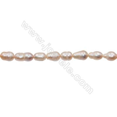"Natural Fresh Water Violet Pearl, White, Size 7~8mm, Hole 0.7mm, 15~16""/strand"