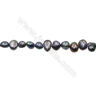 "Multicolor Natural Fresh Water Pearl  (Dyed) Size 7~8mm  Hole 0.7mm  15~16""/strand"