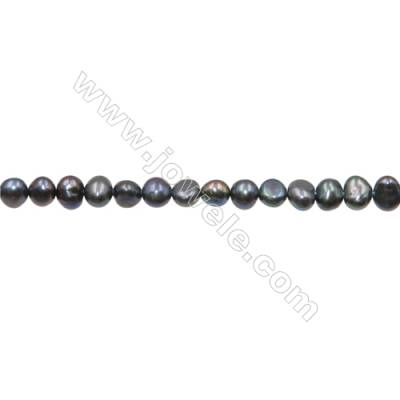 "Multicolor Natural Fresh Water Pearl  (Dyed) Size 4~5mm  Hole 0.4mm  15~16""/strand"