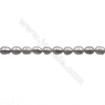 "Natural Fresh Water Grey Pearl  (Dyed) Size 6~7mm  Hole 0.7mm  15~16""/strand"
