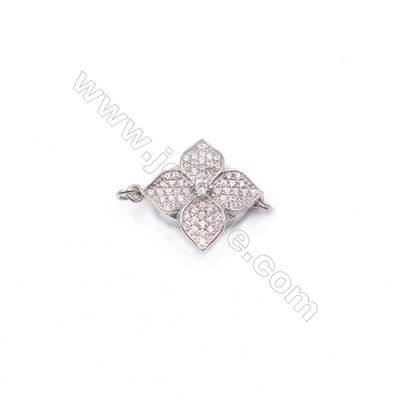 Wholesale flower designs platinum plated 925 sterling silver zircon box clasp connector-841147 17x17mm x 1pc