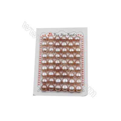 Fresh Water AAA Grade Half-Drilled Violet Pearl Beads  Flat Back  Diameter 10.8~11mm  Thick 8.0mm  Hole 0.8mm  32pcs/card