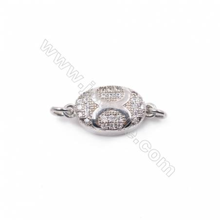 Micro pave zircon platinum plated 925 sterling silver box clasp connector for necklace jewelry making-83860 8x16mm