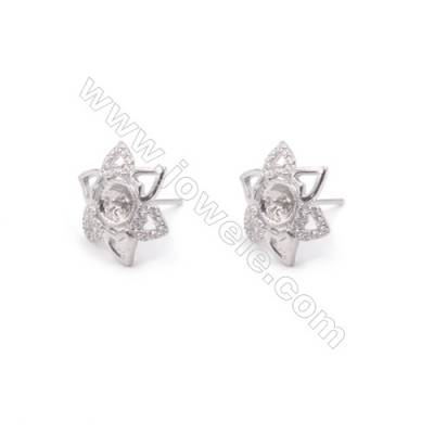 Platinum plated 925 sterling silver ear stud findings components for half drilled beads jewelry making supplies13x14mm x 1pair