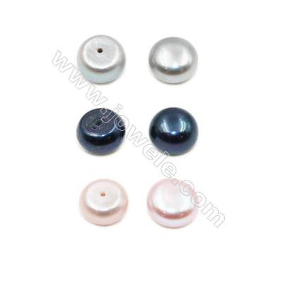 Fresh Water AAA Grade Half-Drilled Pearl Beads  Flat Back  Diameter 9.5~10mm  Thick 5.8mm  Hole 0.8mm  60pcs/card