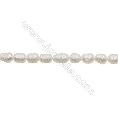 "Natural Fresh Water Pearl White  Size 5~6mm  Hole 0.7mm  13~14""/strand"