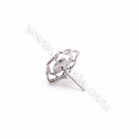 Flower shape platinum plated 925 silver micro pave CZ ear stud findings for half drilled beads jewelry making-E2666 14mm x 1pair