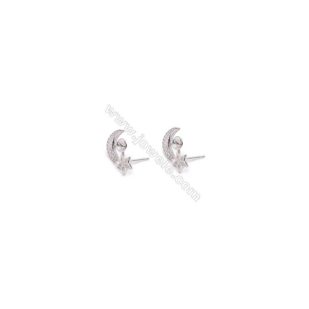 Moon star platinum plated 925 sterling silver jewelry making ear stud findings for half drilled beads-E2866 9x15mm x 1pair