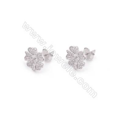 Platinum plated 925 silver floral earring findings with zircon stone-E2811 10mm x 1pair  pin 4mm