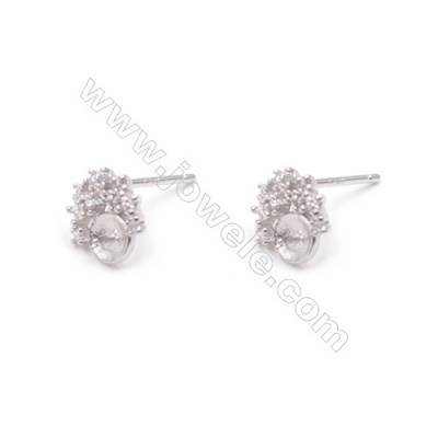 Zircon micro paved platinum plated silver crown stud earrings findings for half drilled beads earring making-E2856 8x9mm x 1pair
