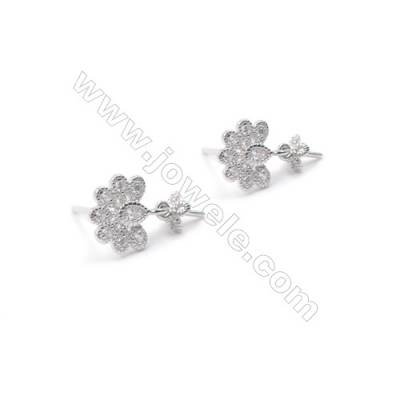 925 sterling silver pierced stud earring CZ findings for half drilled pearl jewelry  Flower  9X9mm x 1pair  tray 5mm  pin 0.6mm
