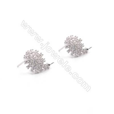 Flower shape platinum plated 925 sterling silver zircon stud ear findings for half drilled beads-E2831 11mm x 1pair