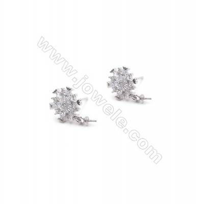 Floral platinum plated 925 sterling silver zircon stud ear findings for half drilled beads-E2827 10mm x 1pair