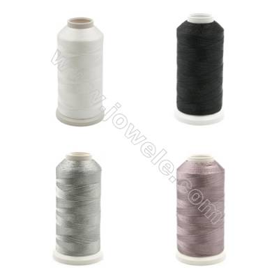 Braided Wire Polyester Threads  Grey Series (Black) fit for tassel making Wire Diameter 0.2mm 1000 Meters / Coil