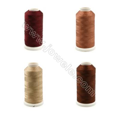 Braided Wire Polyester Threads  Brown Series  fit for tassel making Wire Diameter 0.2mm 1000 Meters / Coil