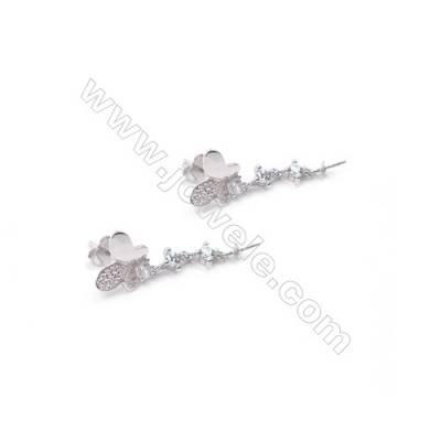 Butterfly design platinum plated 925 sterling silver zircon stud ear findings for half drilled beads-E2758 10x11mm x 1pair