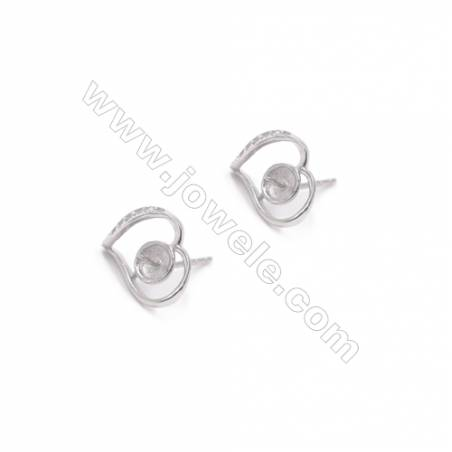 Heart 925 sterling silver pierced stud earring CZ findings for half drilled beads pearl jewelry 10x12mm x 1pair