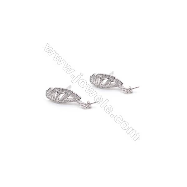 Wing 925 sterling silver platinum plated stud earring CZ findings for half drilled pearl jewelry beads 6x16mm x 1pair