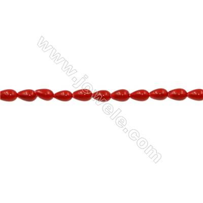 """Shell Pearl Teardrop Beads Red  Size 4x7mm Hole 1.0mm 64pcs/strand 15~16"""""""