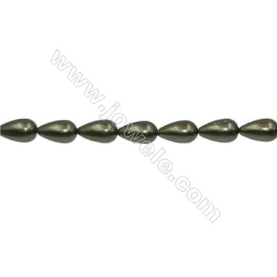 Shell Pearl Teardrop Beads Green  Size 8x14mm Hole 1.0mm 29pcs/strand 15~16""