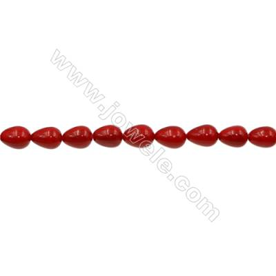 Shell Pearl Teardrop Beads Red  Size 8x10mm Hole 1.0mm 35pcs/strand 15~16""