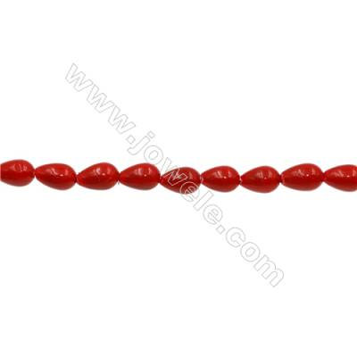 Shell Pearl Teardrop Beads Red  Size 5x8mm Hole 0.6mm 51pcs/strand 15~16""