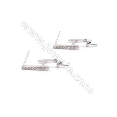Irregular platinum plated 925 sterling silver zircon micro paved earring findings for half drilled beads-E2817 13x14mm x 1pair