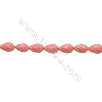 """Shell Pearl Teardrop Beads Pink(Plating)  Size 12x18mm Hole 1.0mm 22pcs/strand 15~16"""""""