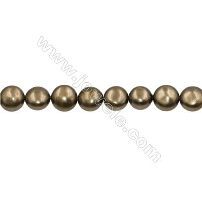 Shell Pearl Teardrop Beads Brass(Plating)  Diameter 13mm Thick 9mm Hole 0.6mm 31pcs/strand 15~16""