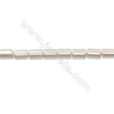 Shell Pearl Teardrop Beads Cylindrical White Beads Strand   Size 10x14mm Hole 0.8mm 28pcs/strand 15~16""