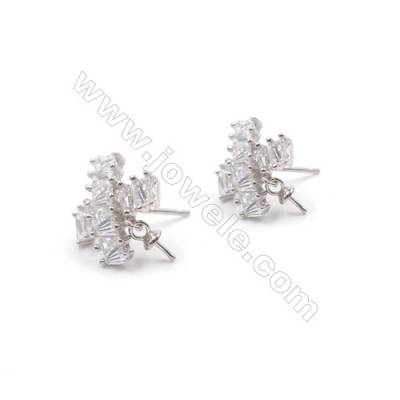 Snowflake platinum plated 925 silver micro pave cubic zirconia ear stud findings-E2857 10x12mm x 1pair