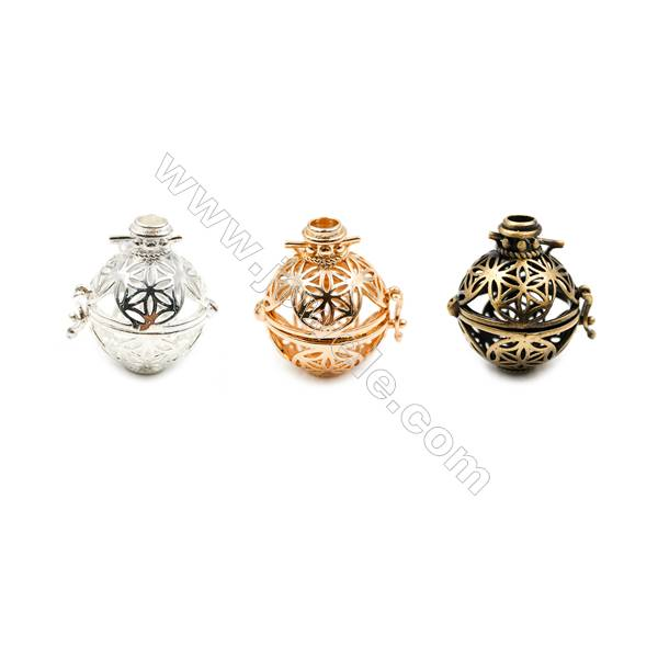 Brass Pendant Brass Plated Gold (Gold Silver Bronze) Leaves  Diameter 21mm  Inner Diameter 17mm  10pcs/pack