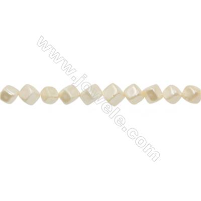 Shell Pearl Teardrop Beads Yellow Square Beads Strand   Size 9x9mm Hole 0.8mm 46pcs/strand 15~16""