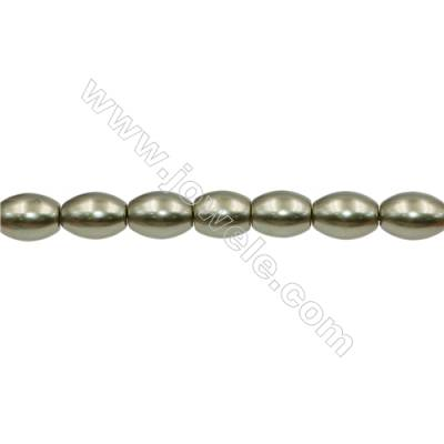 Shell Pearl Teardrop Beads Green Barrel Beads Strand   Size 12x16mm Hole 0.8mm 25pcs/strand 15~16""