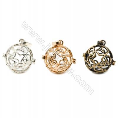 Brass Pendant Brass Plated Gold (Gold Silver Bronze)  Star Diameter 20mm  Inner Diameter 17mm  10pcs/pack