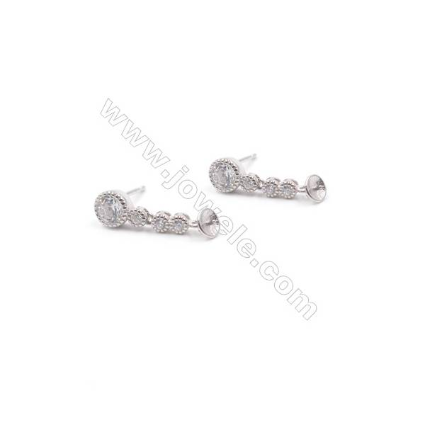 Micro pave zircon platinum plated 925 stelring silver dangle ear stud findings for half drilled beads-E2812 6x18mm x 1pair
