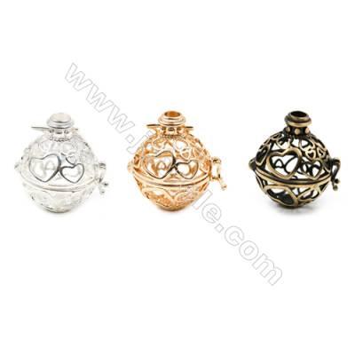 Brass Pendant Brass Plated Gold (Glod Silver Bronze)  Heart Diameter 21mm  Inner Diameter 17mm  10pcs/pack