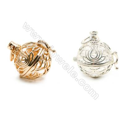 Brass Pendant Brass Plated Gold (Glod Silver)  Diameter 24mm  Inner Diameter 22mm  10pcs/pack